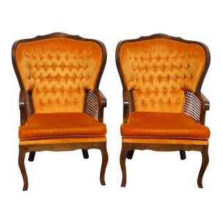 Vintage French Provincial Mid Century Tufted Orange Wing Back Accent Chairs - a Pair