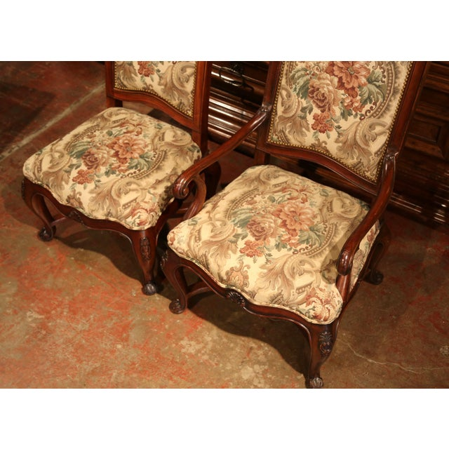 Pink French Carved Walnut and Fruitwood Dining Chairs and Armchairs - Set of 8 For Sale - Image 8 of 13