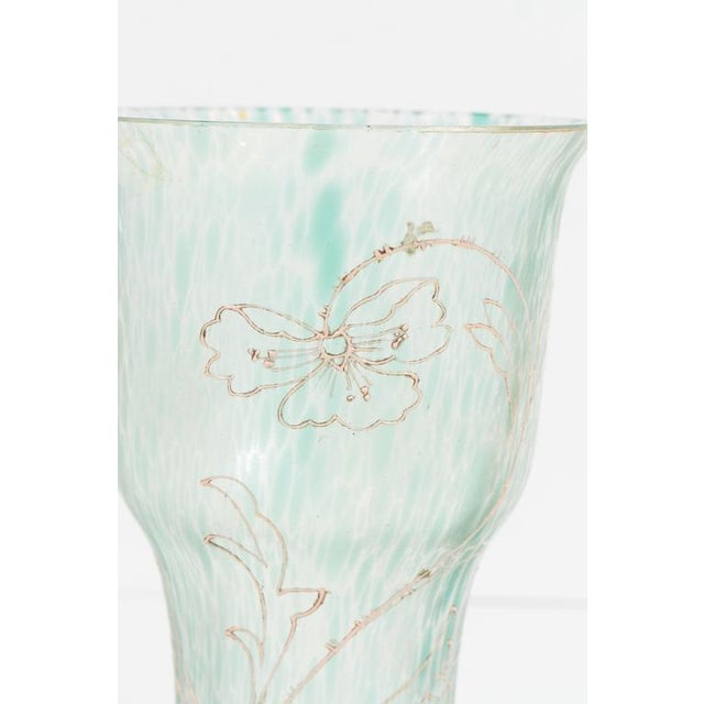 Tiffany and Co. Art Nouveau Austrian Art Glass Vase in Green Iridescent and Gold Relief Vine For Sale - Image 4 of 10