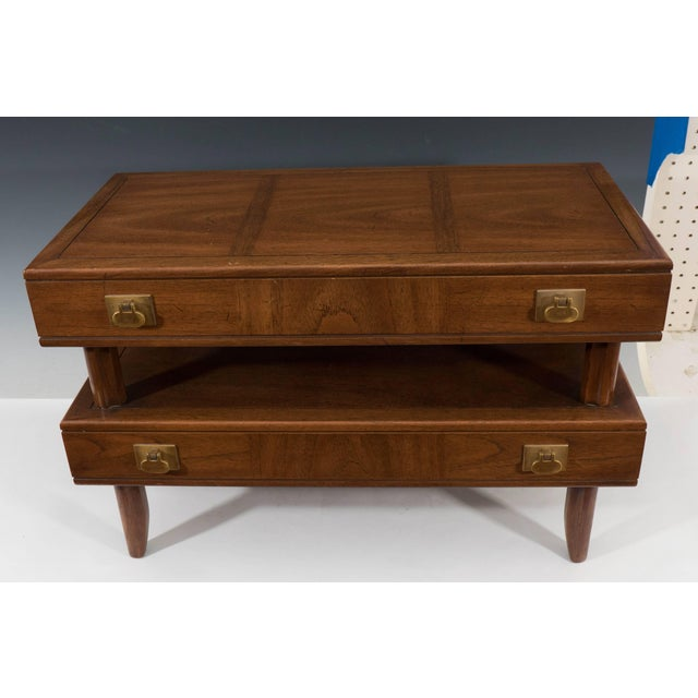 Transitional 1970s Mastercraft Two-Tier Wooden Commode with Brass Pulls For Sale - Image 3 of 8
