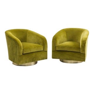 Milo Baughman, Green Swivel Chairs, USA, 1970s For Sale