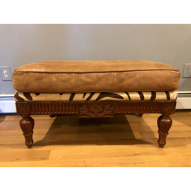 Maitland Smith Mahogany, Leather and Zebra Print Sofa and Ottoman For Sale - Image 12 of 13