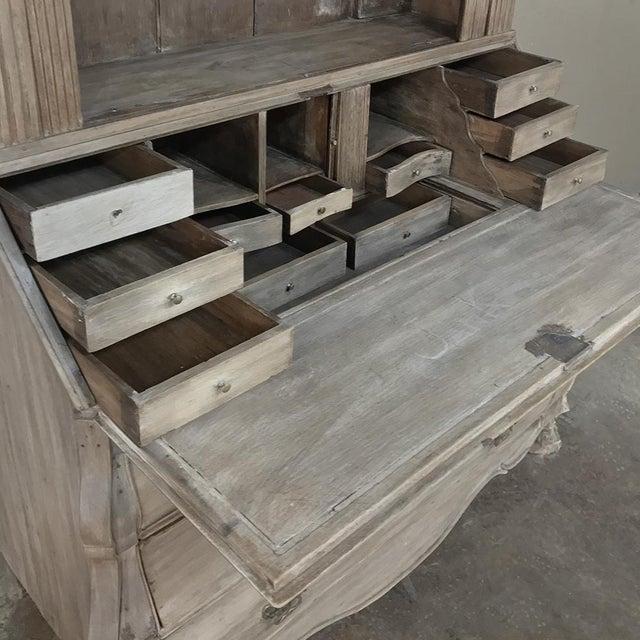 Bronze 18th Century Dutch Tambour Stripped Oak Secretary ~ Bookcase For Sale - Image 7 of 13