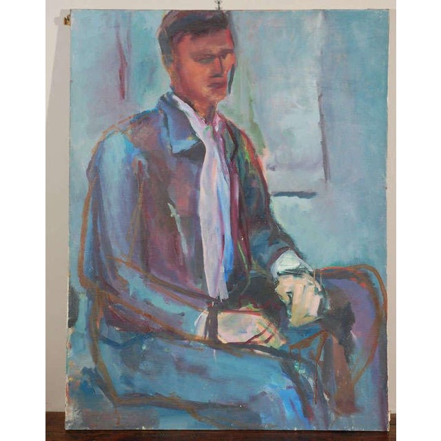 A mysterious sketched portrait of a seated man. Oil on canvas, unframed and unsigned.