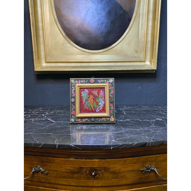 Grand Tour Style Hand Painted Panel With Antique Glazed Italian Cameos by Vramyan For Sale In Los Angeles - Image 6 of 7
