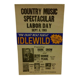 1965 Vintage Country Music Concert Poster For Sale