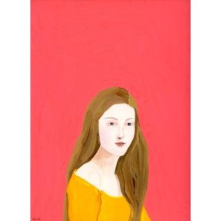 """Portrait Lady in Saffron Dress"" Contemporary Gouache Painting by Alexandra Swistak"