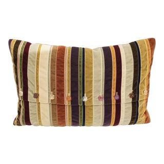 Dransfield & Ross Velvet Ribbon Tourmaline Lumbar Pillow For Sale