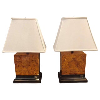 Pair of Jean Claude Mahey Burl Wood & Chrome Base Table Lamps With Custom Shades For Sale