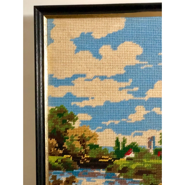 Mid 20th Century Vintage Needlepoint Tapestry of an English Landscape For Sale - Image 5 of 9