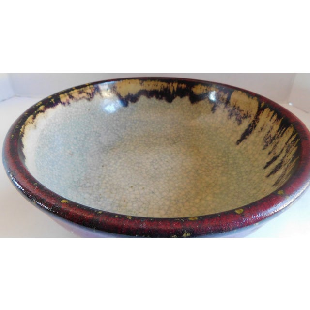 Ceramic Vintage Claret and Taupe Heavy Glazed Pottery Bowl For Sale - Image 7 of 13