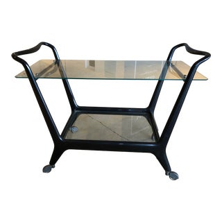Mid Century Modern Black Lacquer and Glass Bar Cart For Sale