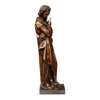 19th Century French Bronze Beethoven Statue on Black Marble Base For Sale