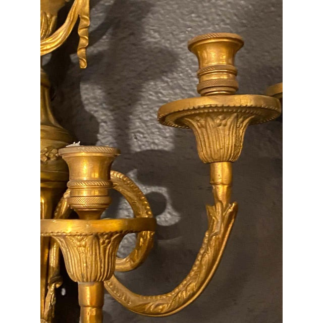 Adams Style Five Arm Tassel Decorated Dore Bronze Wall Candelabras - a Pair For Sale - Image 11 of 13