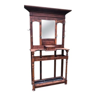 Antique Oak Hall Tree With Mirror For Sale