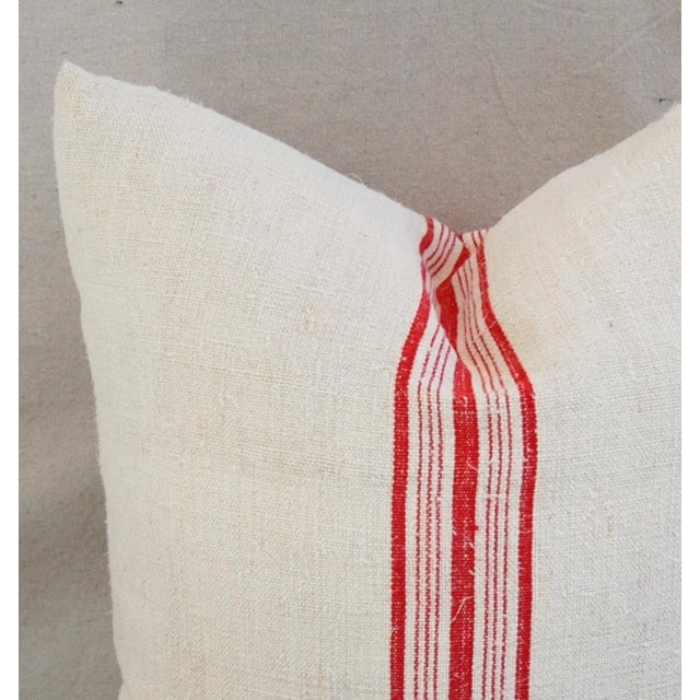 Red Stripe French Grain Sack Pillows - Pair - Image 11 of 11