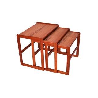 Danish Mid Century Modern Denmark Teak Nesting Tables For Sale