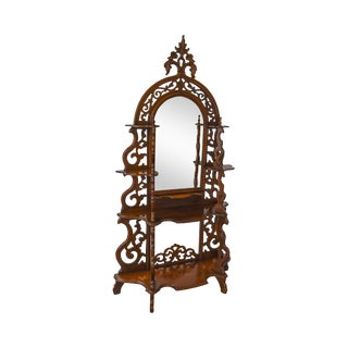 Antique Victorian Rococo Revival Pierced Carved Walnut Mirror Back Etagere For Sale