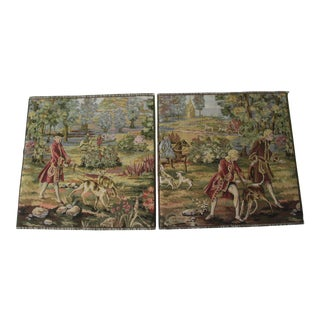 Vintage Woven Tapestry Pieces With Hunting Scenes - a Pair For Sale