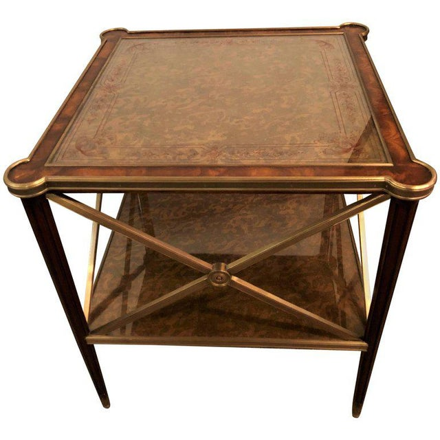 Hollywood Regency Bronze Decorated End Table X-Base Sides Tortoise Glass Top - Image 11 of 11