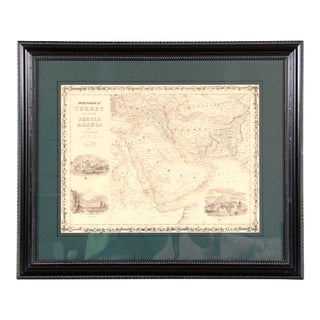 Antique 19th C. Framed Map of Persia Turkey & the Middle East For Sale