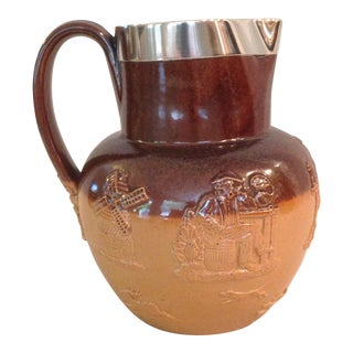 Sterling Rim Salt-Glazed Jug For Sale