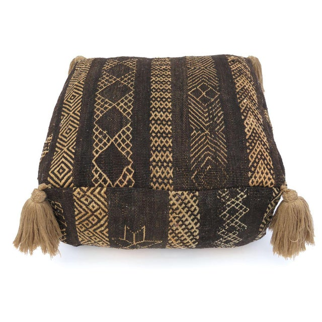 Vintage Black Moroccan Pouf For Sale In Los Angeles - Image 6 of 11