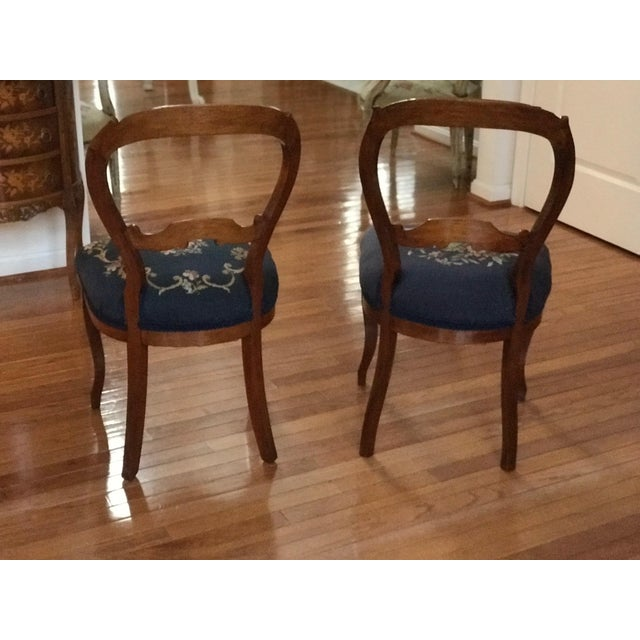 1900s Vintage Carved Mahogany Balloon Back Chairs- A Pair For Sale - Image 4 of 10