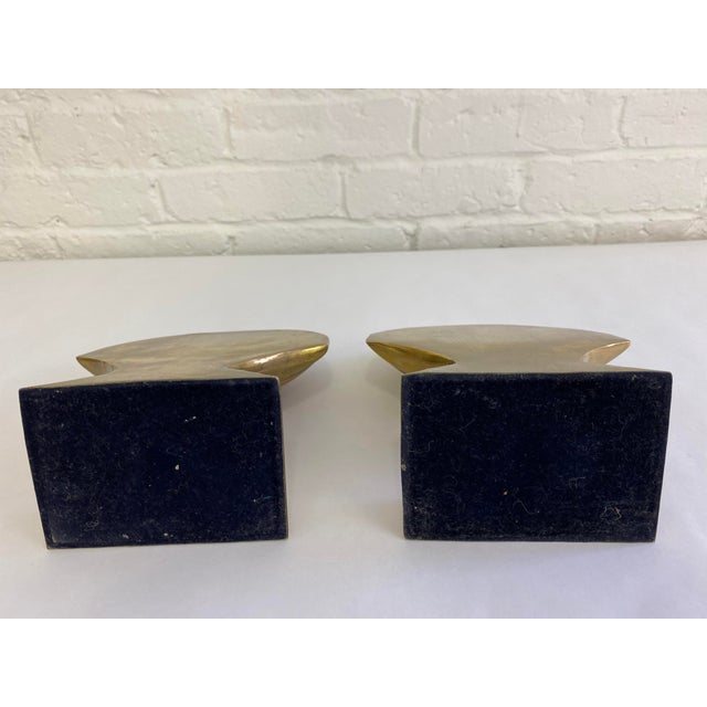 Brass Finished Scallop Shell Bookends- a Pair For Sale In Portland, ME - Image 6 of 7