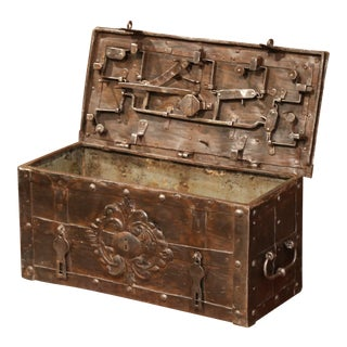 17th Century German Polished Wrought Iron Corsair Nuremberg Safe Money Chest For Sale