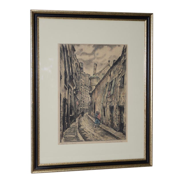 "Joseph Margulies (1896-1984) ""The Oldest Rue in Paris"" Etching W/ Aquatinit C.1930s For Sale"