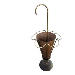 Vintage Mid-Century Italian Brass/Copper Umbrella Stand For Sale