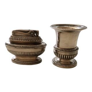 Mid-Century Modern Silver Plated Lighter & Urn Cigarette Holder