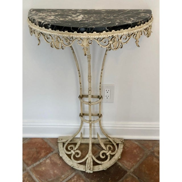 Antique Art Deco Painted Wrought Iron Marble Top Demilune Console Table For Sale - Image 4 of 6