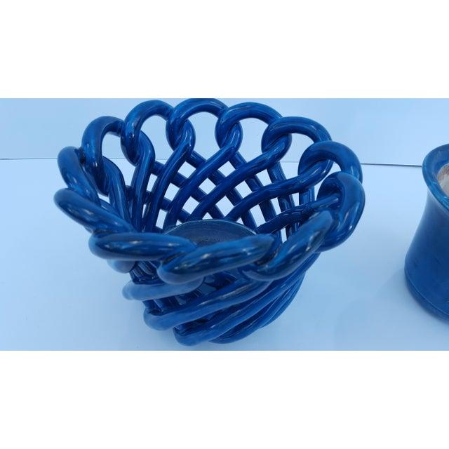 Ceramic Vintage Blue Turquoise Decorative Planter Pot. For Sale - Image 7 of 8