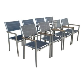 Gloster Luna Stacking Chairs With Arms - Set of 8 For Sale