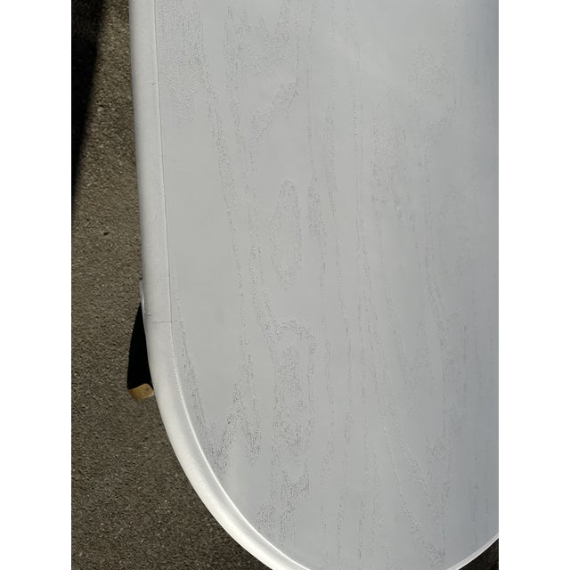 White Vintage Rustic Painted Oval Coffee Table For Sale - Image 8 of 12