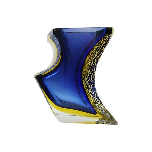 Large Italian Mandruzzato Murano Blue & Yellow Glass Sommerso Vase Mid-Century Modern MCM Campanella - Image 1 of 11