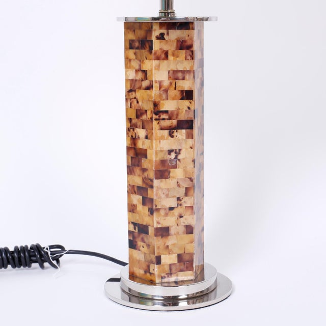 English Horn Veneer Table Lamps - A Pair For Sale - Image 3 of 6