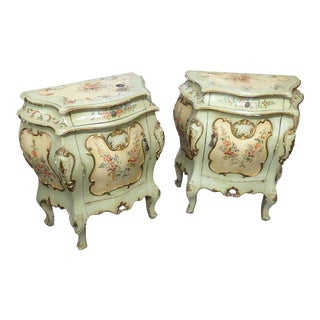 Venetian Paint Decorated Side Tables - a Pair For Sale
