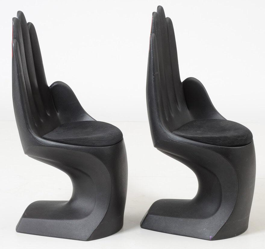 A Pair Of Contemporary Novelty Chairs. These Chairs Are Molded Plastic In  The Shape Of