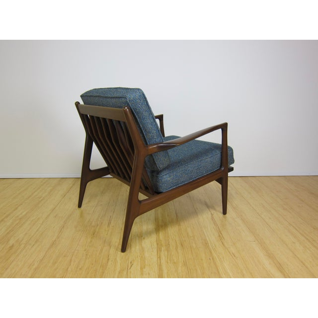 1960s Mid-Century Modern Ib Kofod Larsen for Selig Walnut Lounge Chair For Sale In New York - Image 6 of 11