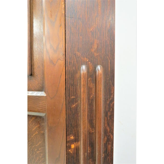 English Tiger Oak Linen Fold Wardrobe With Interior Mirror For Sale - Image 10 of 13