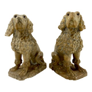 Late 1700s Carved Alabaster Poodles - a Pair For Sale