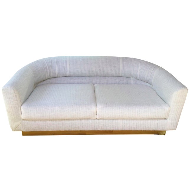 1970s Brass Base & Linen Loveseat - Image 1 of 10