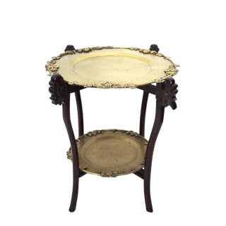 Chinese Dragon Two Tray Folding Brass Side Table For Sale