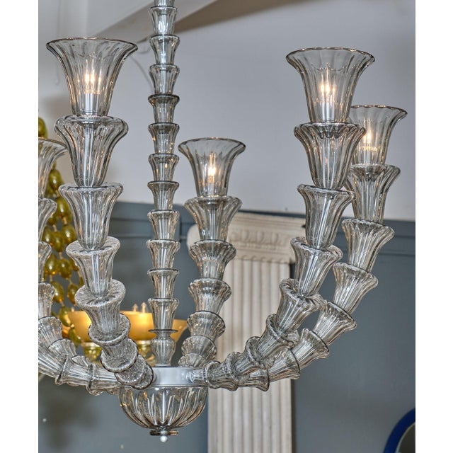 Murano Glass Rezzonico chandelier. The beautiful hand-blown glass is in a striking gray color and has been newly wired to...