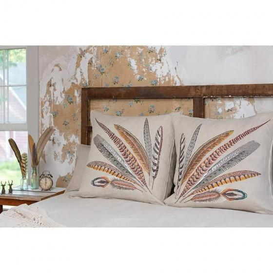 Boho Chic Pheasant Feather Right Pillow For Sale - Image 3 of 10