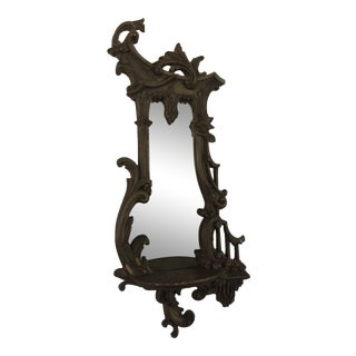 20th Century Victorian Chinoiserie Ornate Mirror With Shelf For Sale