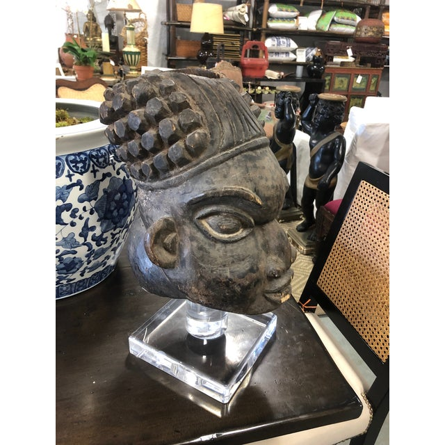 Vintage Mid-Century Decorative Head African Sculpture For Sale In West Palm - Image 6 of 8
